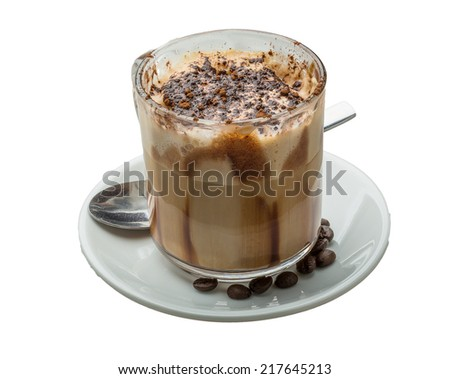 Mocha coffee with chocolate and powder - stock photo