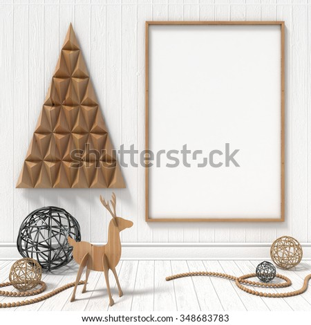 Mock up blank picture frame, Christmas decoration. 3D render illustration - stock photo