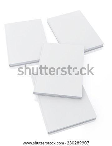 mock up blank white books, isolated on white background, template - stock photo