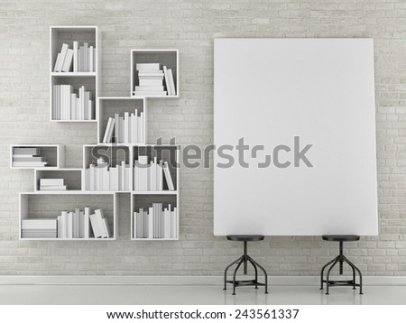 mock up book shelf with empty poster, 3d illustration - stock photo