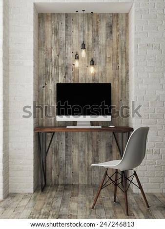 mock up modern office, 3d illustration - stock photo