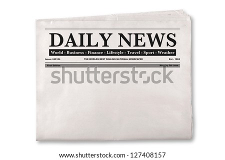 Mock up of a blank Daily Newspaper with empty space to add your own news or headline text and pictures. - stock photo