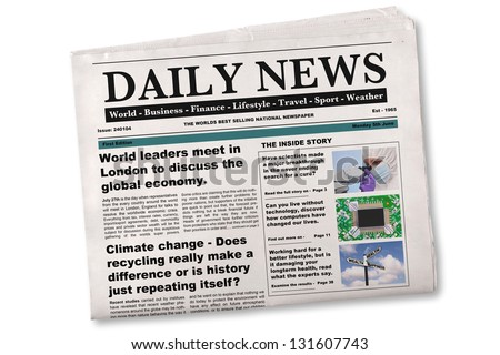 Mock up of a Daily newspaper on a white background. The name, title, headlines and stories are all fake, photos are from my portfolio. - stock photo