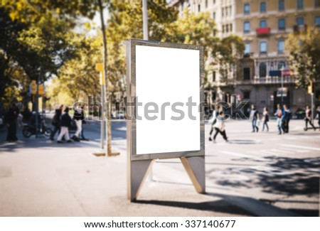 Mock up of blank advertising light box in the city  - stock photo
