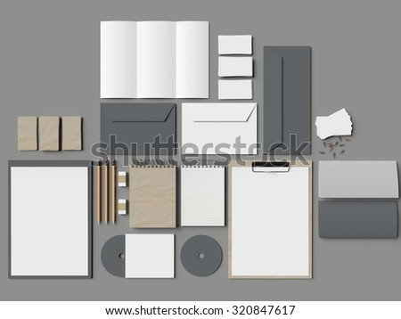 Mock up of Classic elements on the grey table. 3d render - stock photo