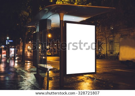 Mock up of light box on the bus stop - stock photo