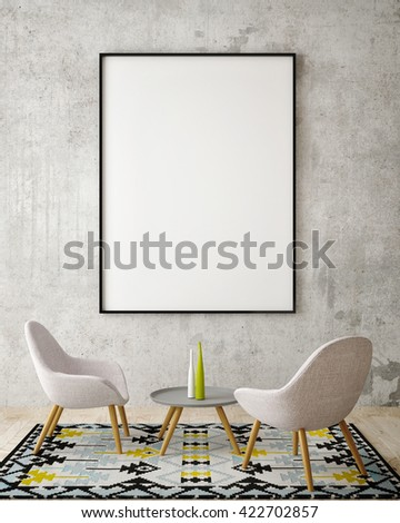 mock up poster frame in hipster interior background, 3D rendering, 3D illustration - stock photo