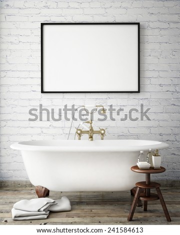 mock up poster frame in vintage hipster bathroom, interior background, 3D render - stock photo