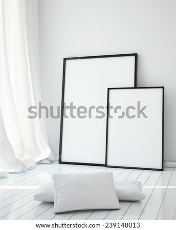 mock up poster frame in white scandinavian dining room, interior background, 3D render - stock photo