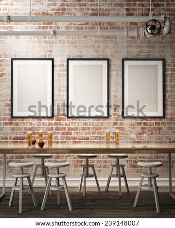 mock up poster frames on the wall of retro hipster cafe restaurant, interior background, 3D render - stock photo