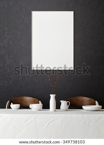 mock up poster in hipster dining room, 3d render - stock photo