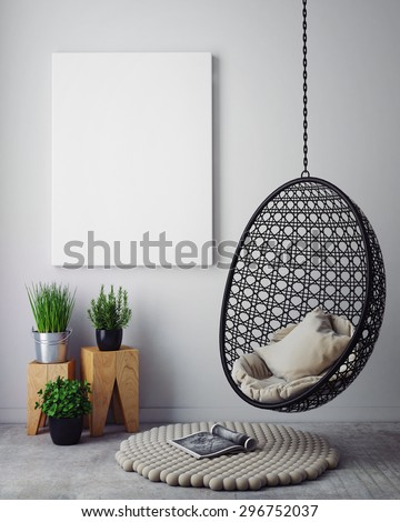mock up poster in hipster interior background, 3D render - stock photo