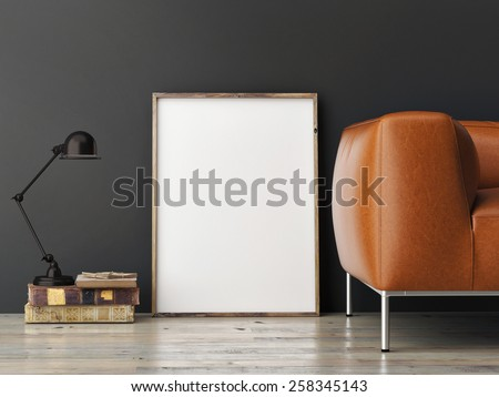 mock up poster on gray wall, 3d illustration - stock photo