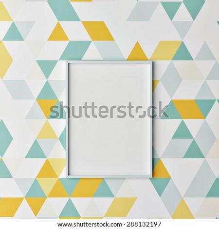 Mock up poster on hipster wallpaper, 3d render - stock photo