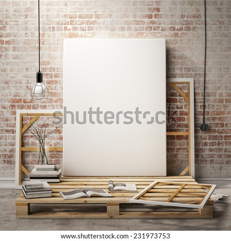 mock up posters frames and canvas in vintage hipster loft interior background, 3D render - stock photo