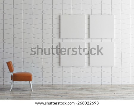mock up posters on pattern wall, 3d illustration - stock photo