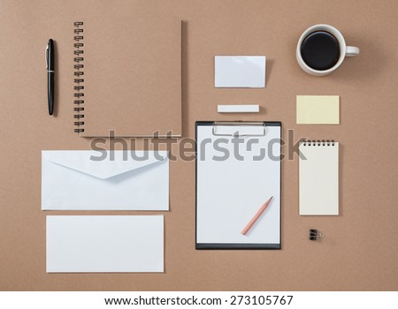 Mock up template of stationary  in every day life - stock photo