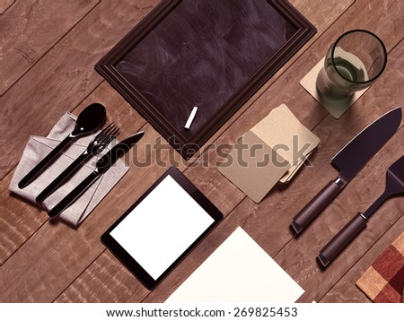 Mock up template with cooking utensil.  High resolution. - stock photo