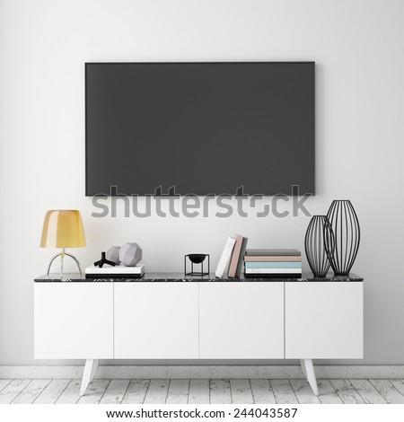 mock up tv screen with vintage hipster loft interior background, 3D render - stock photo