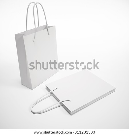 mock up two white paper package - stock photo