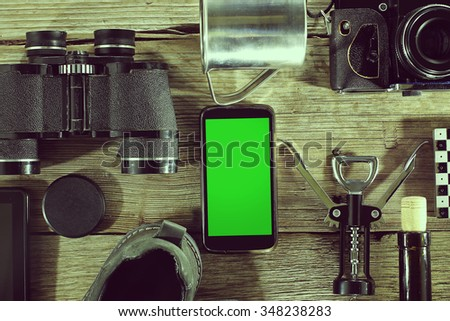 Mock Up.  Vintage. Travel concept.  Set to travel is on the table. - stock photo