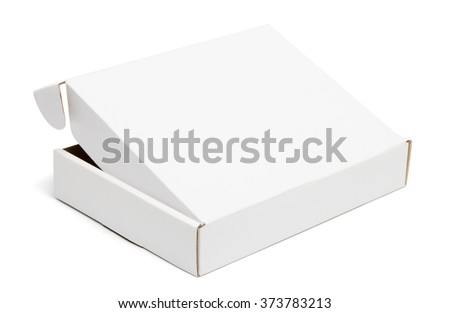 Mockup of almost closed pizza box. Isolated on white with clipping path. With original shadow. Blank white carton box. - stock photo