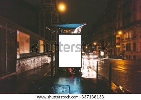 Mockup of blank light box on the bus stop - stock photo