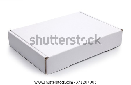 Mockup of closed blank carton pizza box isolated on white with clipping path with original shadow - stock photo