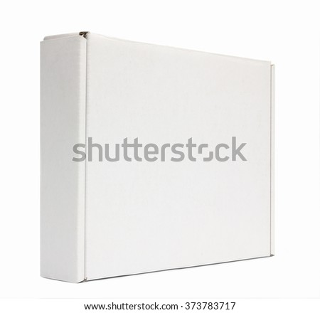 Mockup of closed vertical box isolated on white with clipping path with original shadow - stock photo