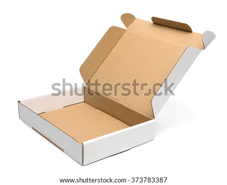 Mockup of open blank carton pizza box isolated on white with clipping path with original shadow - stock photo