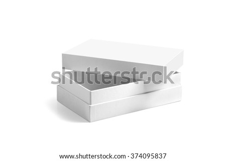Mockup of opened phone box isolated on white with clipping path with original shadow. Premium expensive white board box for smartphone - stock photo