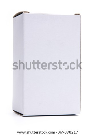 Mockup of vertical white closed corrugated board box. Photo isolated on white. - stock photo