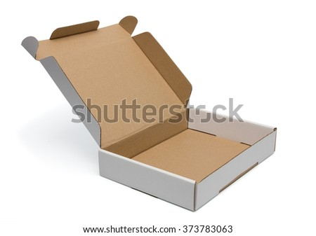 Mockup of wide open blank carton pizza box isolated on white with clipping path with original shadow - stock photo