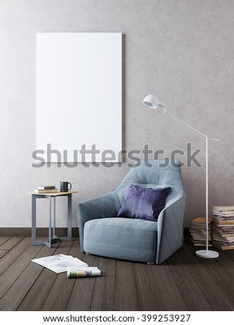 Mockup poster on the wall in the interior with a chair in Contemporary style. 3D render. - stock photo