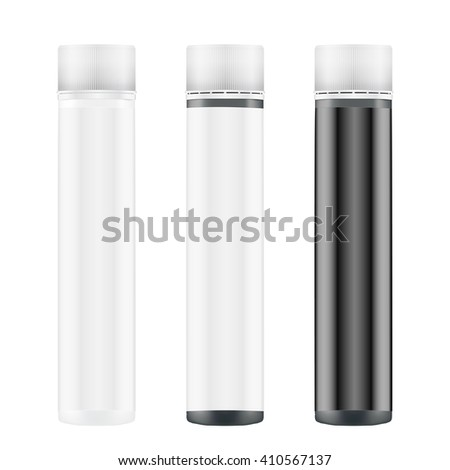 Mockup Sport Vitamin Container. Raster copy. Black and White Plastic Jar.  Illustration isolated on white background - stock photo