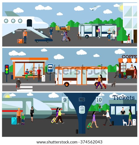 Mode of Transport concept illustration. Airport, bus and railway stations. Design elements and banners in flat style. City transportation objects: bus, train, plane, passengers - stock photo
