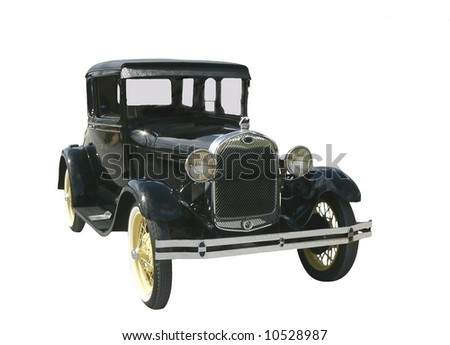 Model A Ford in beautiful condition isolated on white. The Model A was the second huge success for the Ford Motor Company, after its predecessor, the Model T. It was produced between 1928 and 1931. - stock photo