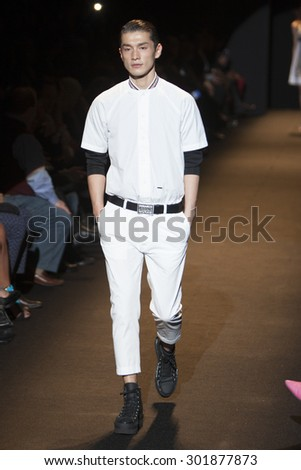 Model Daisuke Ueda walks the runway during Naomi Campbell's Fashion For Relief Show at Mercedes Benz Fashion Week Fall Winter 2015 in New York on February 14, 2015 - stock photo
