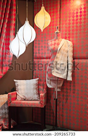 Model for cloth with lighting studio - stock photo