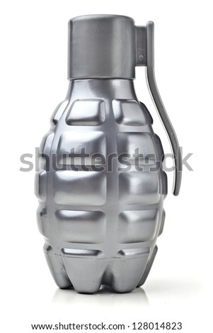 Model grenade. Grenade-shaped bottle. Vertically. - stock photo