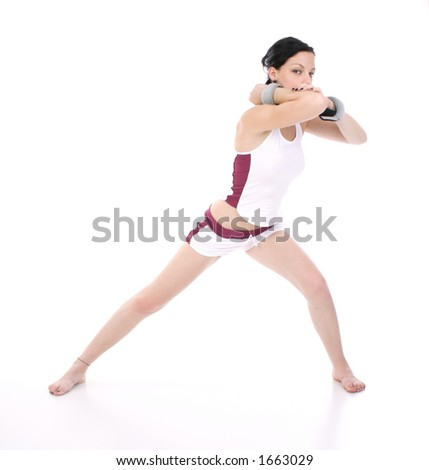 model in gym - stock photo