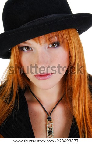 Model in hat like gangster - stock photo