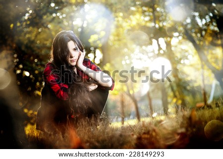 Model in red Plaid in  Autumn  - stock photo