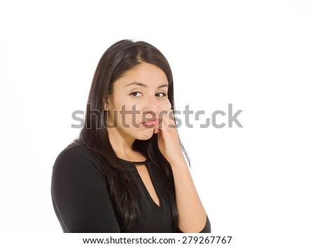 Model isolated depressed boredom - stock photo