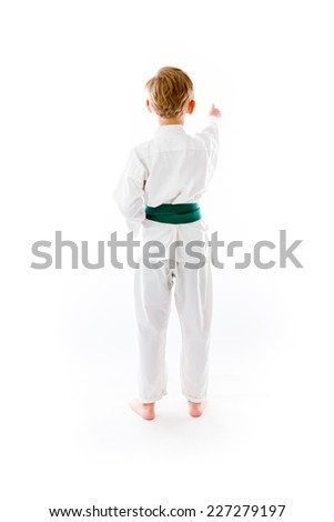 model isolated on plain background back pointing - stock photo