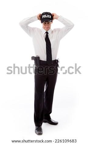 model isolated on plain background stressed upset pulling hairs - stock photo