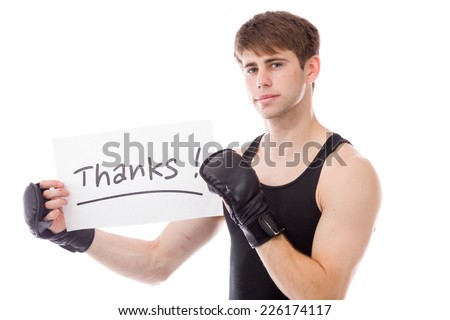model isolated on white holding a sign - stock photo