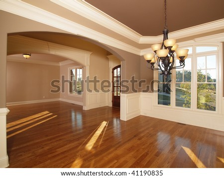 Model Luxury Home Interior Two Front Entrance Rooms - stock photo