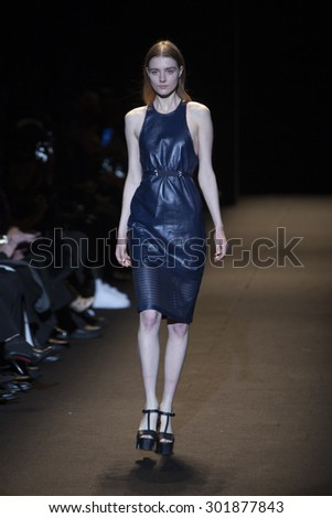 Model Morta Kontrimaite walks the runway during Naomi Campbell's Fashion For Relief Show at Mercedes Benz Fashion Week Fall Winter 2015 in New York on February 14, 2015 - stock photo