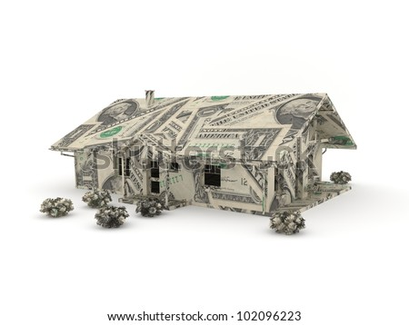 Model of a house made by dollar bills - stock photo